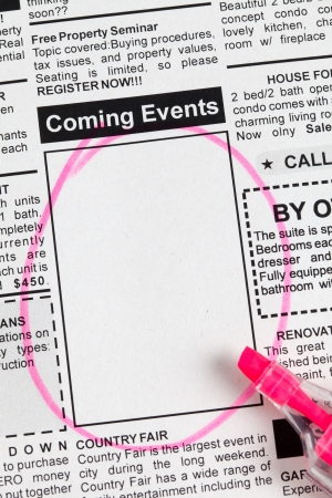 classifieds: Fake Classified Ad, newspaper, Coming Events concept.