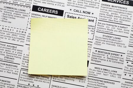 classifieds: Fake Classified Ad, newspaper and sticky note