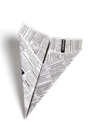 신문 비행기, 분류 광고, 비즈니스 개념.