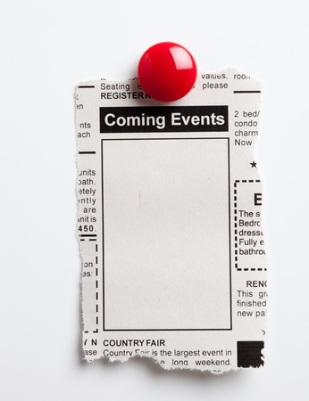 bulletin board: Fake Classified Ad, newspaper, Coming Events concept.