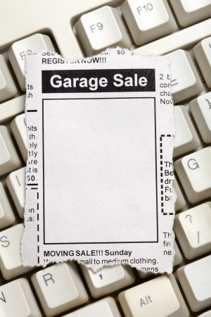 Fake Classified Ad, newspaper, Garage Sale concept. photo