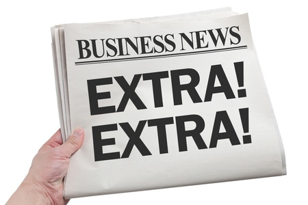 extra: Newspaper Extra with white background Stock Photo