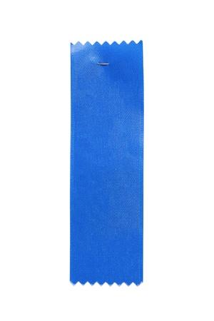 白い背景の青い賞リボン