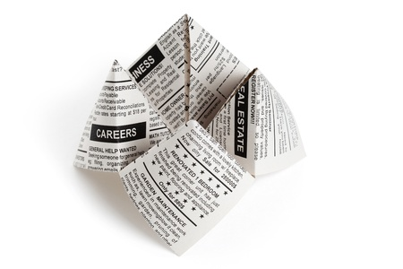 cootie catcher: Fake Newspaper, Fortune Teller business concept.