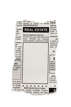 Fake Classified Ad, newspaper, Real Estate concept. photo