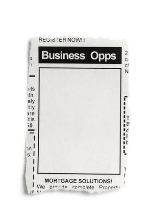 Fake advertentie, krant, business opportunity concept. Stockfoto