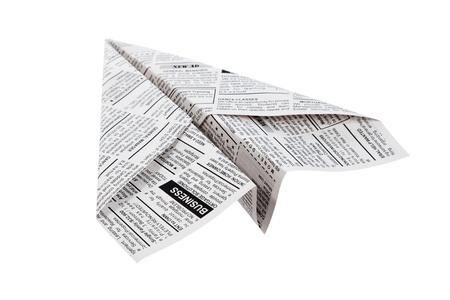 신문 비행기, 분류 광고, 비즈니스 개념입니다.