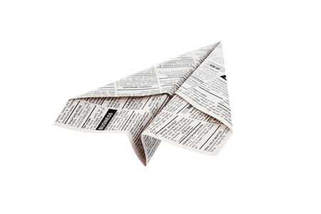 Fake Newspaper Airplane, Classified Ad, business concept. photo