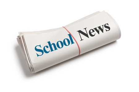 School News, Newspaper with white background Archivio Fotografico