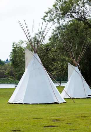 White Indian tepee close up
