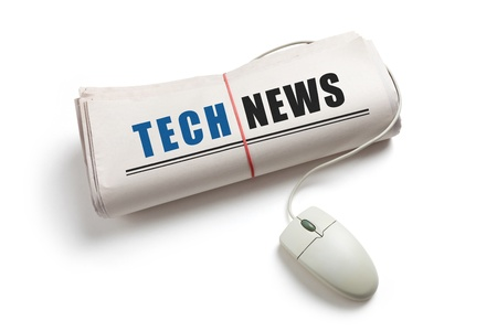 Tech News, Computer mouse and Newspaper Roll with white background photo