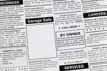 Fake Classified Ad, newspaper, Garage Sale concept. Stock Photo - 16014348