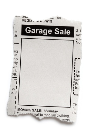 Fake Classified Ad, newspaper, Garage Sale concept. Stock Photo - 16014317