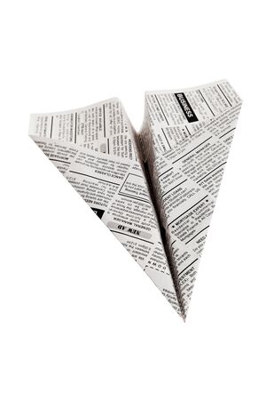 paper airplane: Fake Newspaper Airplane, Classified Ad, business concept.