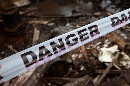 do not enter warning sign: Danger Sign Tapel close up