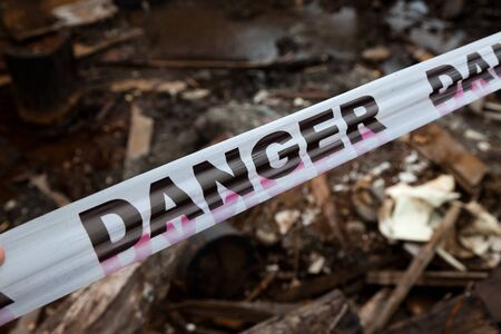 do not enter: Danger Sign Tapel close up