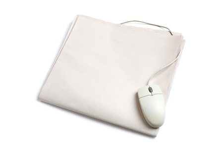 Computer mouse and Newspaper with white background photo