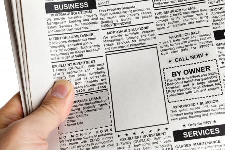 Falso annuncio, giornale, concetto di business. Archivio Fotografico - 16248620
