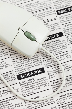 Fake Classified Ad, newspaper, Education concept.