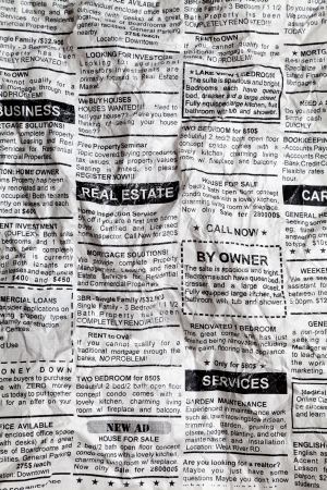 Fake Classified Ad, Crumpled; Newspaper, business concept. Imagens
