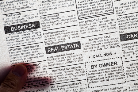 classifieds: Fake Classified Ad, transparent newspaper, business concept.