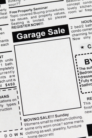 Fake Classified Ad, newspaper, Garage Sale concept. Stock Photo - 16248554