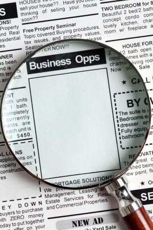 classifieds: Fake Classified Ad, newspaper, business opportunity concept.
