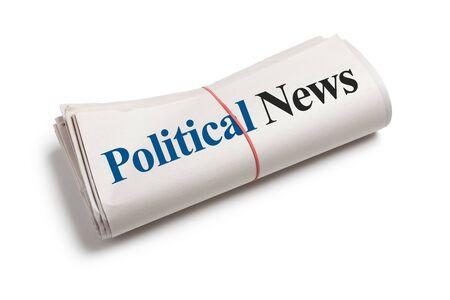 정치 뉴스, 흰색 배경 신문의 롤 스톡 콘텐츠