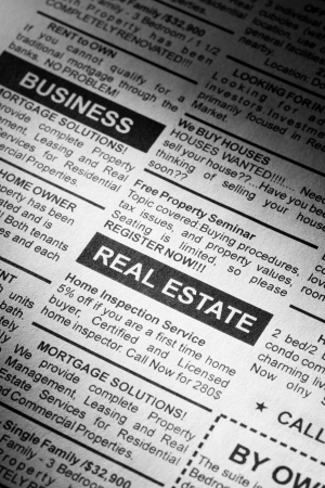 classified ad: Fake Classified Ad, newspaper, real estate concept  Stock Photo