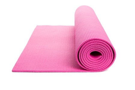 Pink Yoga Mat with White Background photo