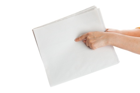 Finger pointing Blank Newspaper with white background photo