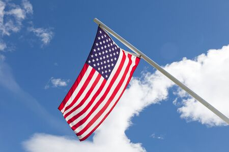 American Flag with blue sky Stok Fotoğraf