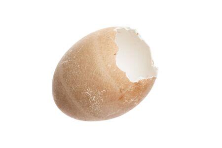 tojáshéj: Broken brown egg shell with white background