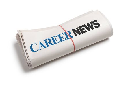 Career News, Newspaper roll with white background photo