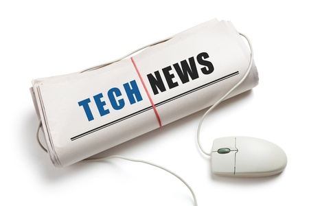 Tech News, Computer mouse and Roll Peri�dico con fondo blanco photo