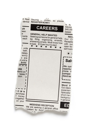 Fake Classified Ad, newspaper, Career concept.  photo