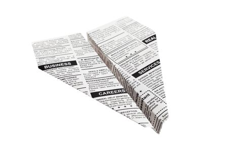paper airplane: Newspaper Airplane, Classified Ad, business concept.