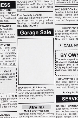 classifieds: Fake Classified Ad, newspaper, Garage Sale concept.