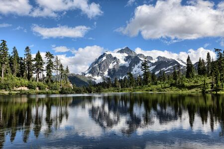 washington state: Mt Shuksan with Picture Lake in foreground in Washington state