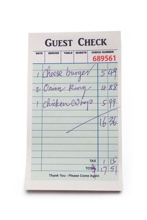 Guest Check, concept of restaurant expense. photo