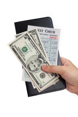 Guest Check e dollaro, concetto di ristorante spesa. Archivio Fotografico - 20234318
