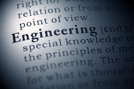 Dictionary definition of the word engineering  Fake Dictionary Stock Photo