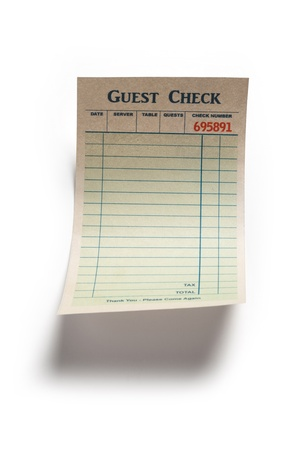 Fake Blank Guest Check, concept of restaurant expense