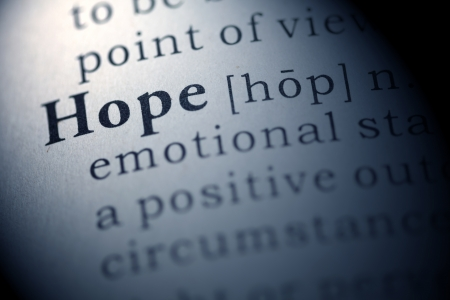 printing out: Dictionary definition of the word hope.  Stock Photo