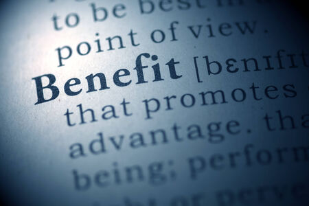 Dictionary definition of the word Benefit.  photo