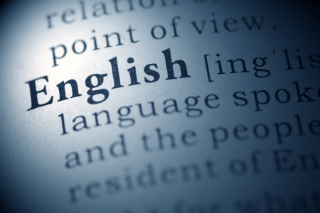 language dictionary: Dictionary definition of the word english.  Stock Photo