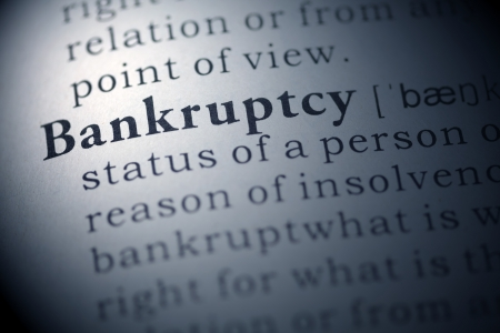 printing out: Dictionary definition of the word Bankruptcy.