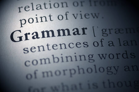 grammar: Dictionary definition of the word Grammar.  Stock Photo