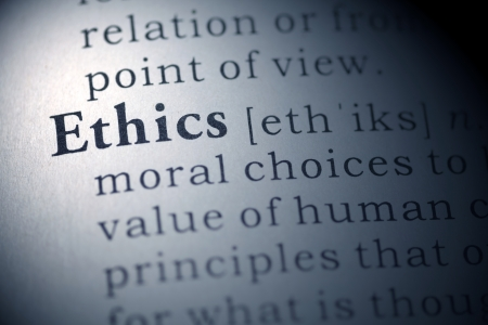 printing out: Dictionary definition of the word Ethics.