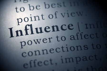 influence: Dictionary definition of the word influence.  Stock Photo